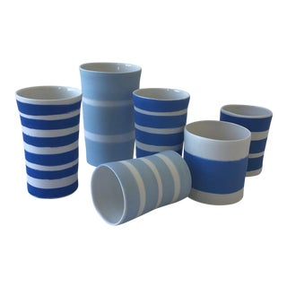 Contemporary Ceramic Striped Cylindrical Vessels - Group of 6 For Sale