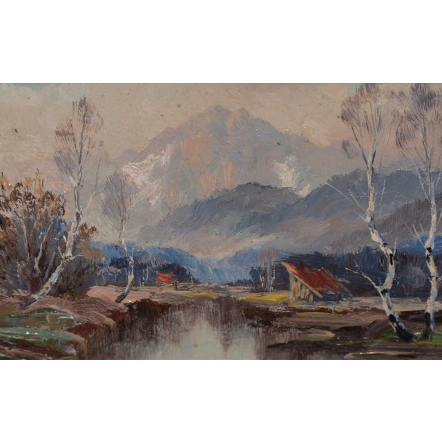 """Wonderful Little """"Munchen"""" Mountain Landscape by Sepp Burghofer Early 20th c. Small but mighty luminous mountain landscape..."""