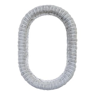 Vintage Boho Chic Cottage White Wicker Oval Wall Mirror