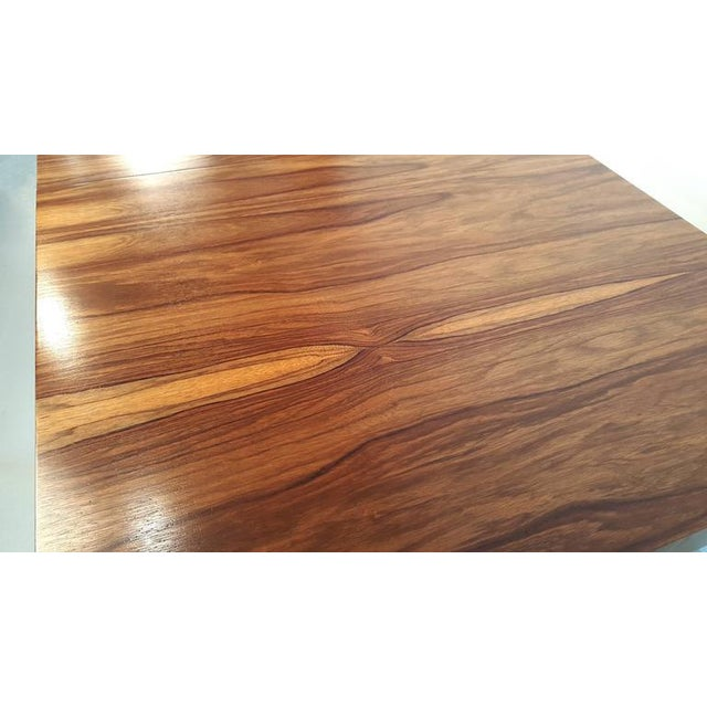 Thayer Coggin Milo Baughman Exotic Brazilian Rosewood and Brass Dining Table for Thayer Coggin For Sale - Image 4 of 4