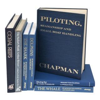 Vintage Blue Coastal Books - Set of 7 For Sale