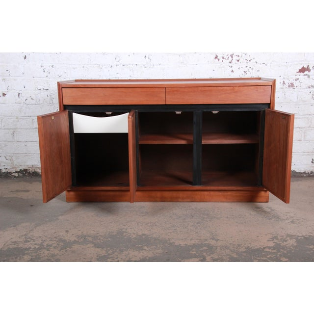 Wood Merton Gershun for Dillingham Mid-Century Modern Walnut Sideboard Credenza For Sale - Image 7 of 11