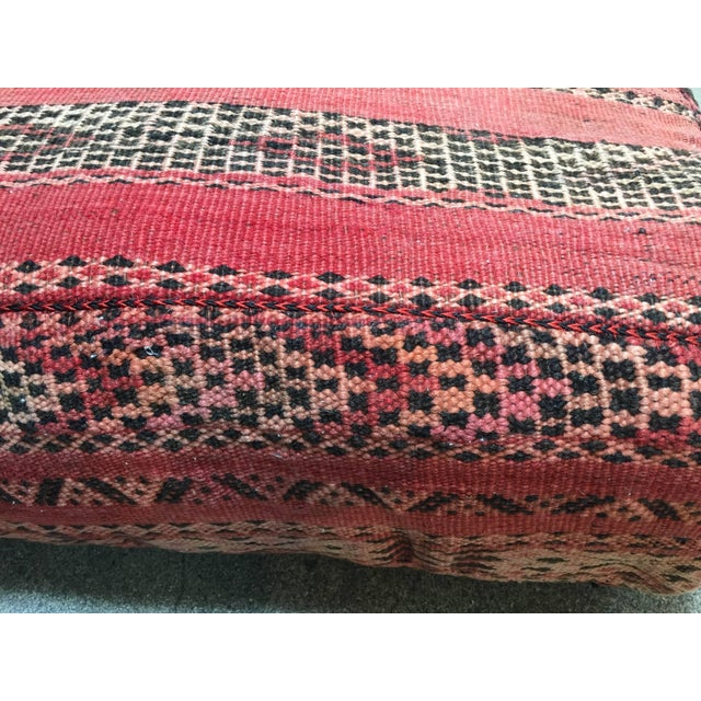 Moroccan Floor Pillow Tribal Seat Cushion Made From a Vintage Berber Rug For Sale - Image 10 of 13