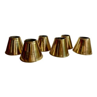 1940s Brass Candle Lampshades - Set of 6 For Sale