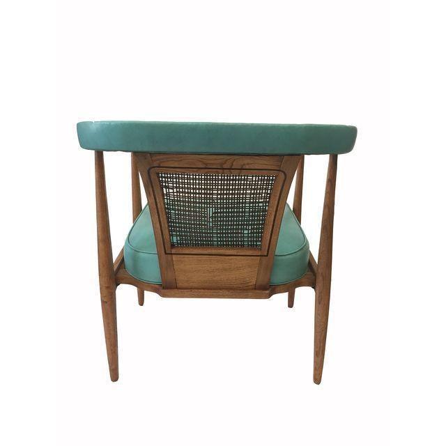 Vintage Mid-Century Teal & Oak Chair - Image 3 of 4