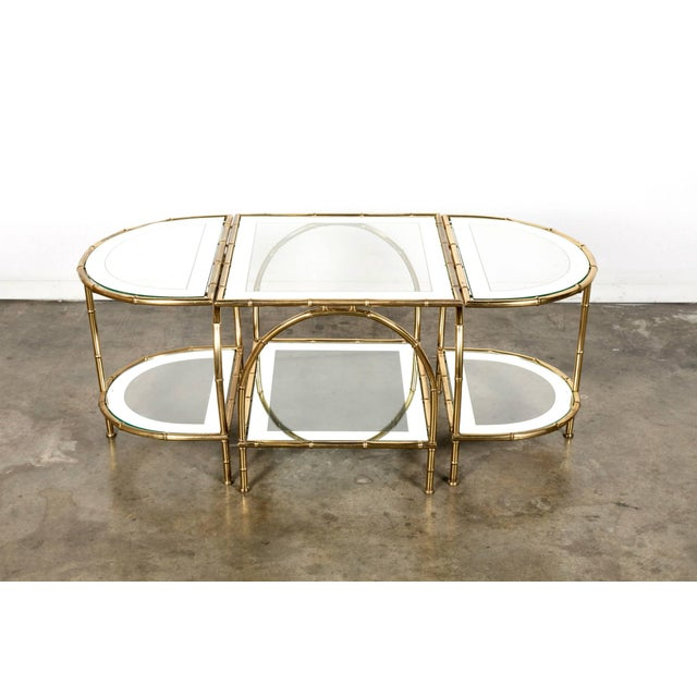 Hollywood Regency Maison Baguès Brass Faux Bamboo Three-Piece Coffee Table - 3 Pieces For Sale - Image 10 of 10