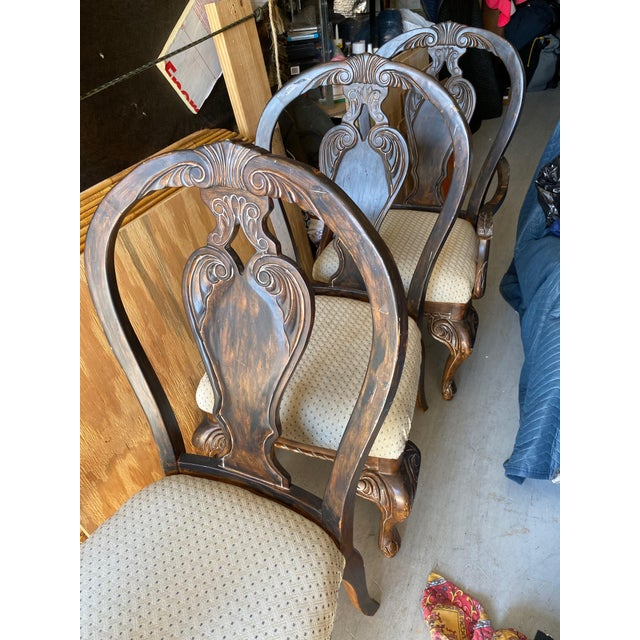 Vintage Curved Carved Wood Chairs Set of 4 For Sale In West Palm - Image 6 of 9