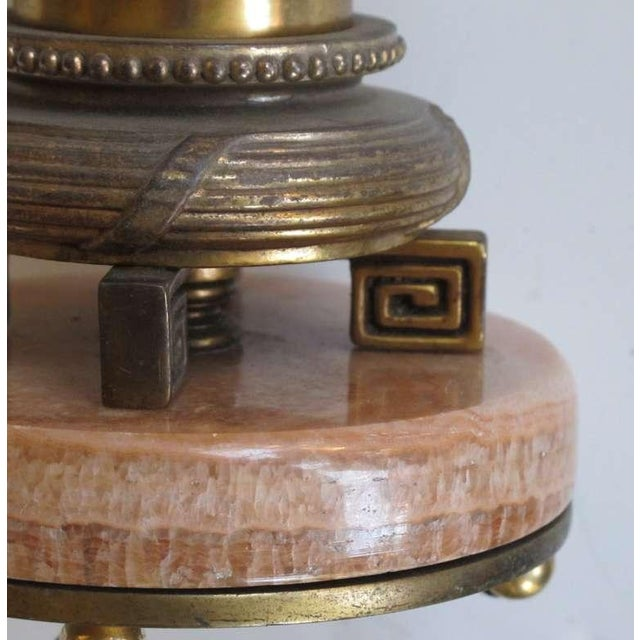 Art Deco Pair of French Art Deco Rosso-Pistalo Marble Columnar Lamps For Sale - Image 3 of 3