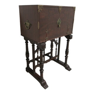 Antique Spanish Renaissance Drop Front Gothic Writing Desk For Sale