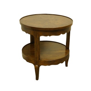 "20th Century Traditional Henredon Furniture Walnut Rustic Country Style 25"" Round Tier Accent Table For Sale"