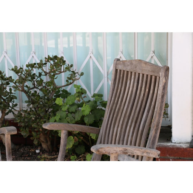 Vintage Set of Teak Outdoor Patio Chairs For Sale - Image 10 of 13