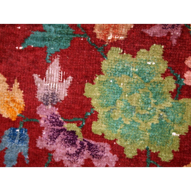 1920s Hand Made Antique Art Deco Chinese Rug - 2′ × 2′10″ For Sale - Image 4 of 10
