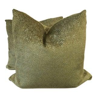"Chartreuse Dot Velvet 22"" Pillows-A Pair For Sale"