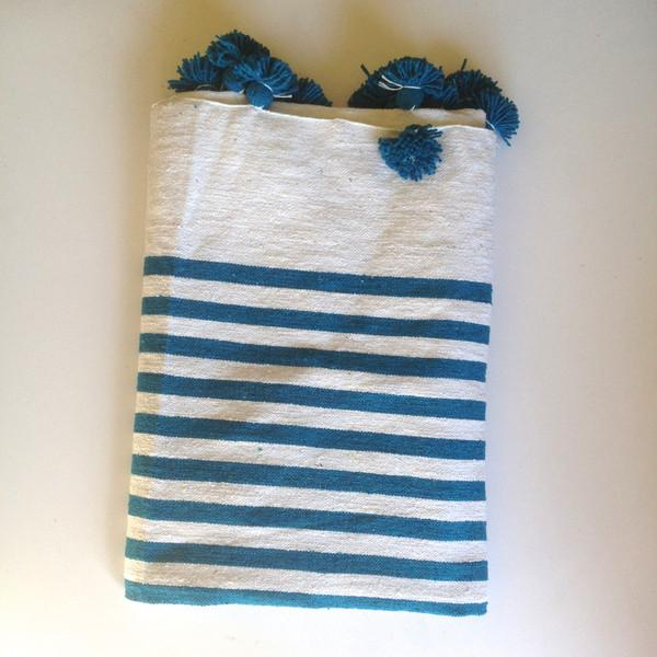Turquoise Striped Moroccan Blanket with Tassels - Image 2 of 3