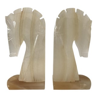 White Onyx Horse Head Bookends - A Pair For Sale