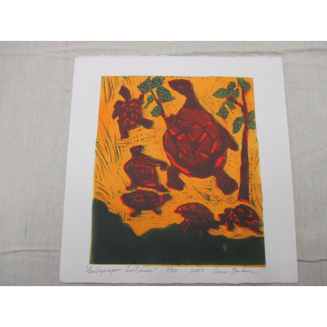 2000 - 2009 Vintage Lithograph Titled: Galapagos Tortoises Signed by Artist: Ann Zahn For Sale - Image 5 of 5