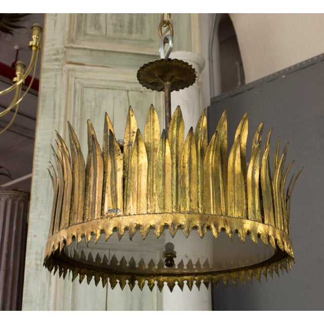 1950s Spanish Gilt Metal Crown Ceiling Fixture For Sale - Image 5 of 9