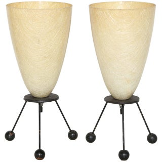 1950s Tony Paul Style Atomic Black Wire Tripod Lamps With Cream Cone Shades - a Pair For Sale