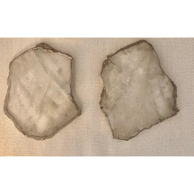 Contemporary Set of Crystal Silver Edged Coasters For Sale - Image 3 of 5