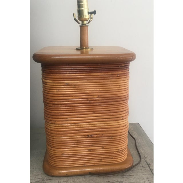 Vintage 1970s Gabriella Crespi Style Pencil Reed Table Lamp For Sale - Image 11 of 12