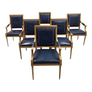 Swiss Private Bank Boardroom Set of 6 French Louis XVI Style Square Back Vintage Blue Leather Armchairs For Sale