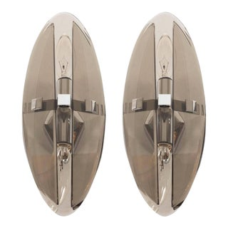 Pair of Mid-Century Modernist Smoked Glass Elliptical Sconces by Veca For Sale