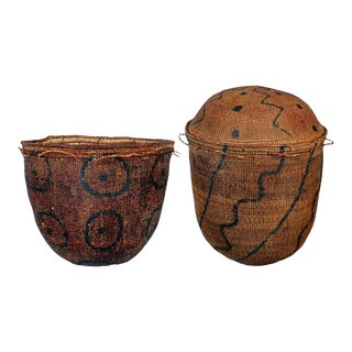 Early African Grass Grain Baskets - A Pair For Sale