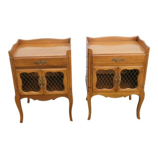 1960s French Cherry Nightstands - a Pair For Sale