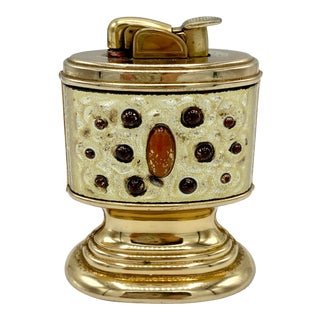 Evans Mid Century Amber Jeweled Table Lighter For Sale