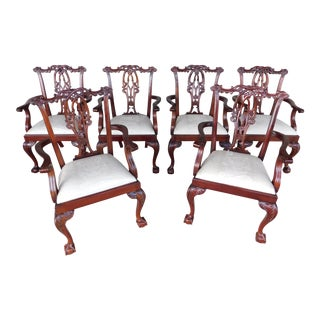 Quality Chippendale Style Mahogany Ball & Claw Foot Set of 6 Dining Chairs For Sale