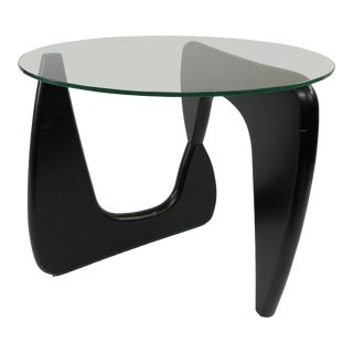 Mid Century Modern Glass Top Side Table - in the Style of Isamu Noguchi For Sale