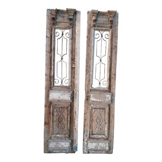 Antique French Doors Large Architectural Iron Grill Doors - A Pair