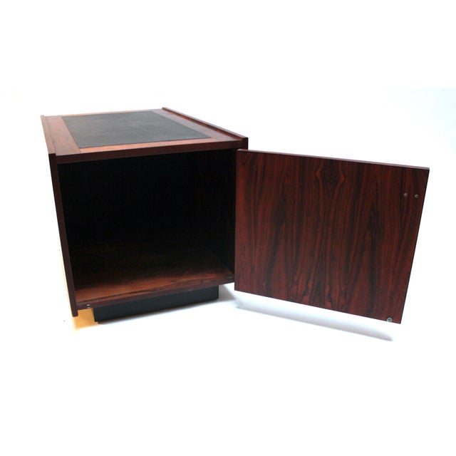 1960s Bornholm Danish Rosewood & Leather Storage Side Tables- a Pair For Sale - Image 9 of 11