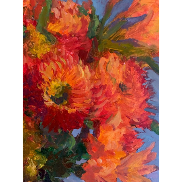 "Orange ""Orange Dahlias"" Oil Painting For Sale - Image 8 of 8"