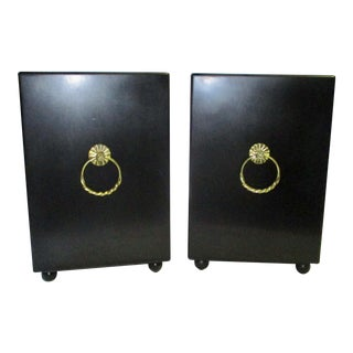 1960s Hollywood Regency Black End Tables - a Pair For Sale