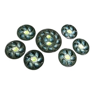 French St. Clement Majolica Oyster Plates With Serving Platter - Set of 6 For Sale