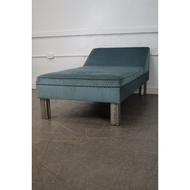 Studio Crafted Brushed Steel Framed Upholstered Chaise Lounge - Image 5 of 10