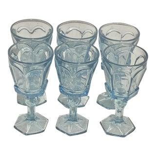 Vintage Sky Blue Cordial Glasses - Set of 6 For Sale