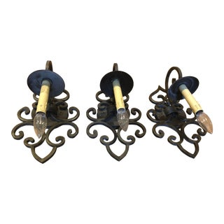 Traditional Arte De Mexico Wrought Iron Sconces - Set of 3 For Sale