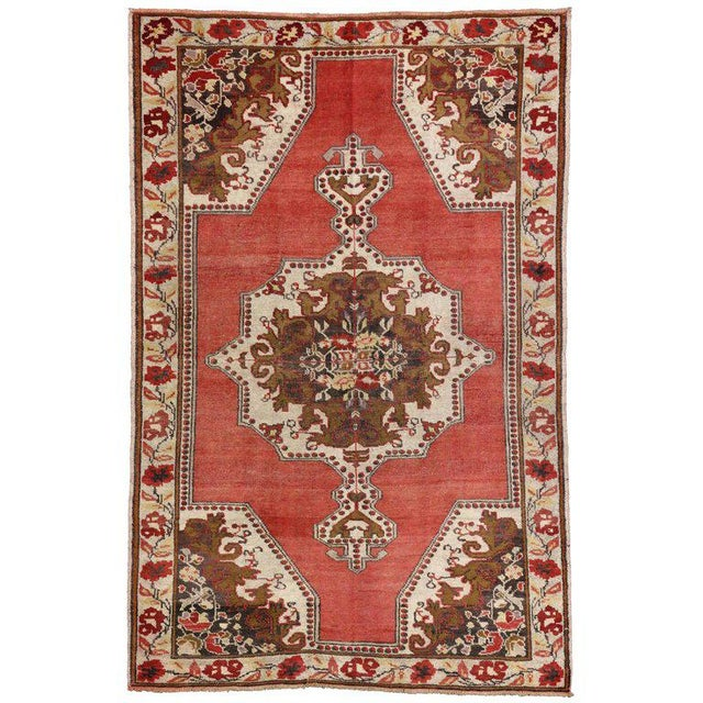 Mid 20th Century Vintage Mid-Century Turkish Oushak Rug - 4′6″ × 6′ For Sale - Image 5 of 5
