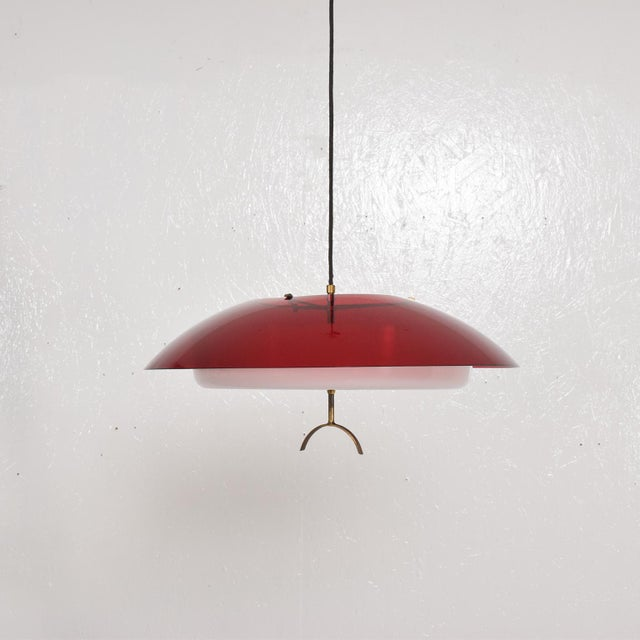 Brass Mid-Century Italian Modern Pendant Light Fixture by Stilux, Italy Chandelier For Sale - Image 7 of 7