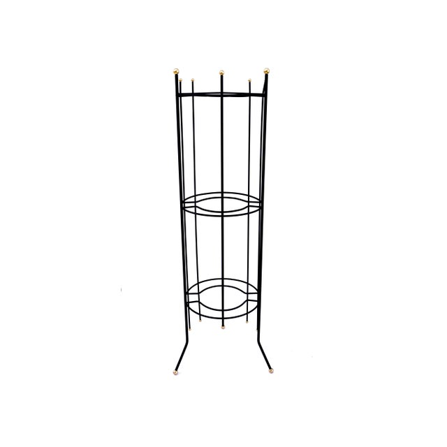 Mid-Century Atomic Era 3-Tier Metal Plant Stand ||Retro/Industrial Chic Black & Gold Tri-Level Vertical Tall Planter Stand || Sputnik Design For Sale - Image 11 of 11