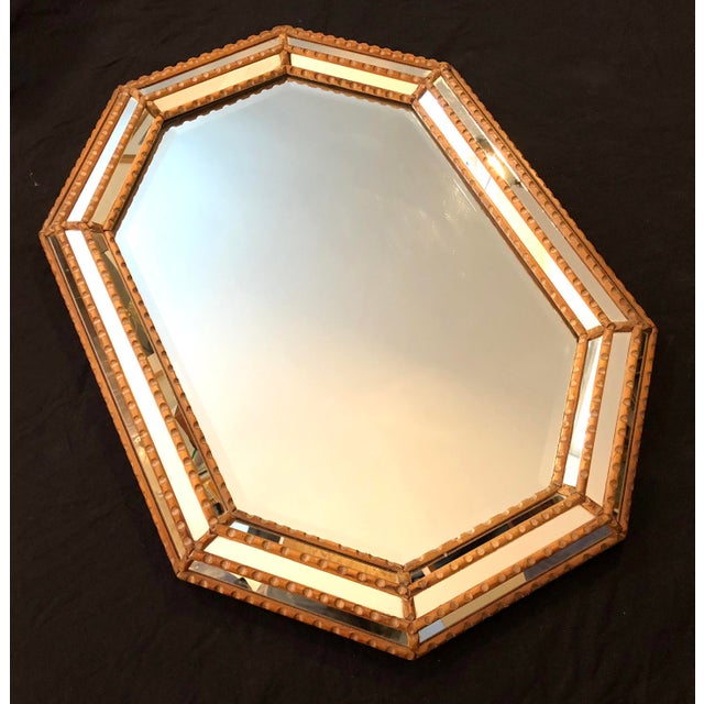 Hollywood Regency Italian Mid-Century Beaded and Beveled Octagonal Wall Mirror For Sale - Image 3 of 10