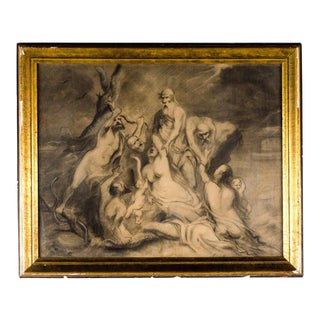 "19th Century Antique Theodore Ceriez ""The Deluge - Noah and Family"" Graphite on Paper Drawing For Sale"
