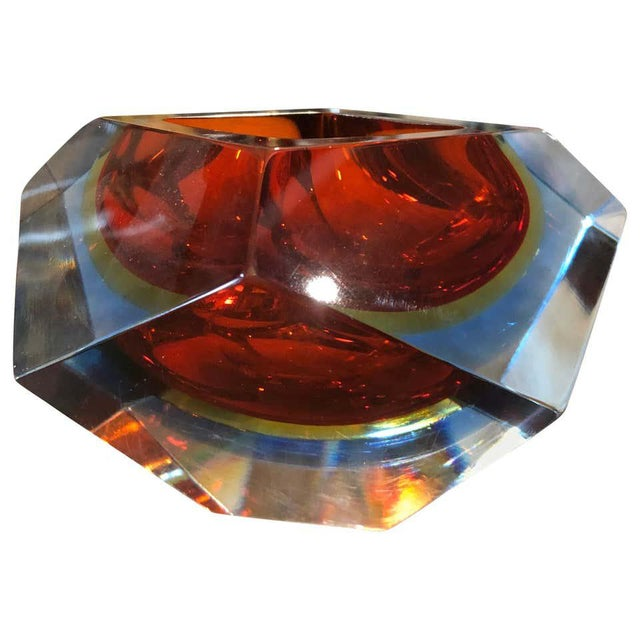 1960s Seguso Sommerso Faceted Murano Glass Ashtray For Sale - Image 11 of 11
