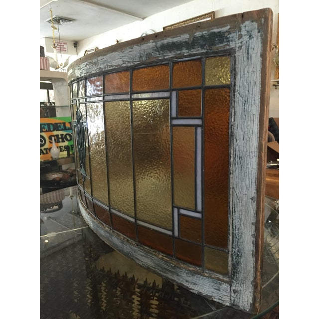 Art Glass Antique Mission Design Curved Stained Glass Window For Sale - Image 7 of 11