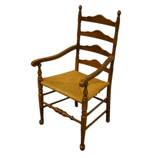 Ethan Allen Antiqued Pine Old Tavern Ladder Back Dining Arm Chair Preview
