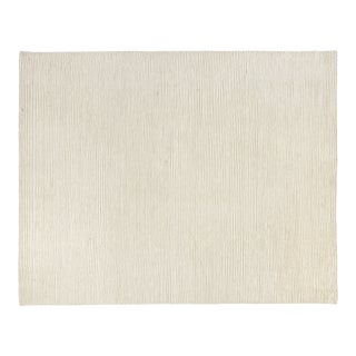 Exquisite Rugs Hamilton Hand Knotted Wool White & Ivory - 8'x10' For Sale