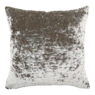 FirmaMenta Italian Silver Gray Crushed Velvet Pillow For Sale