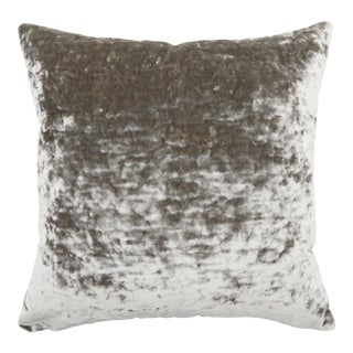 FirmaMenta Italian Silver Gray Lush Crushed Velvet Pillow For Sale